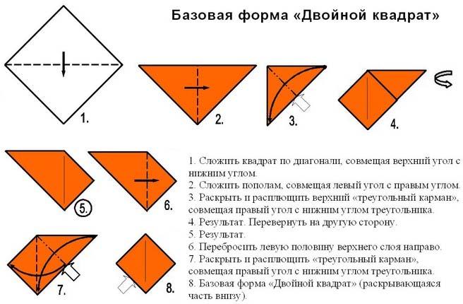 Базовый двойной квадрат оригами
